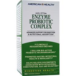 American Health Dual-Action Enzyme Probiotic Complex 90 vcaps
