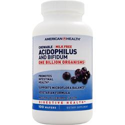 American Health Chewable Acidophilus and Bifidum Natural Blueberry 100 wafrs