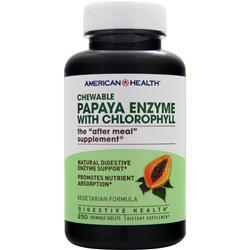 American Health Chewable Papaya Enzyme with Chlorophyll 250 tabs