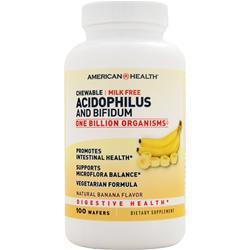 American Health Chewable Acidophilus and Bifidum Natural Banana 100 wafrs