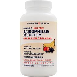American Health Chewable Acidophilus and Bifidum Natural Assorted Fruit 100 wafrs