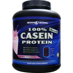 BodyStrong 100% Casein Protein - Natural Strawberry 5 lbs