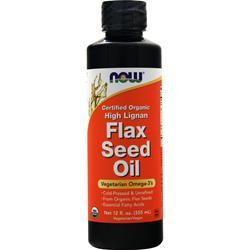 Now High Lignan Flax Seed Oil (Certified Organic)  BEST BY 2/20 12 fl.oz