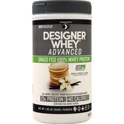 Designer Protein Designer Whey Advanced Grass Fed 100% Whey Protein Vanilla Cookies & Cream BEST BY 1/20 1.85 lbs