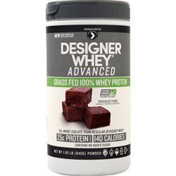 Designer Protein Designer Whey Advanced Grass Fed 100% Whey Protein Chocolate Fudge 1.85 lbs