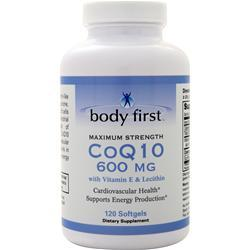Body First CoQ10 (600mg) with Vitamin E and Lecithin - Maximum Strength  EXPIRES 1/20 120 sgels