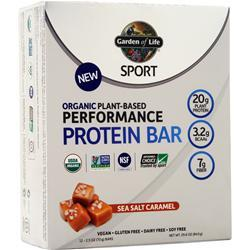 Garden Of Life Sport - Organic Plant-Based Performance Protein Bar Sea Salt Caramel 12 bars