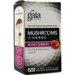 Gaia Herbs Mushrooms + Herbs Reishi + Turmeric 60 vcaps