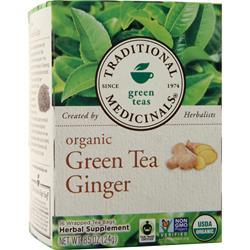 Traditional Medicinals Organic Herbal Tea Green Tea Ginger 16 pckts