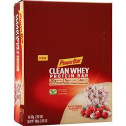 PowerBar Clean Whey Protein Bar White Fudge Raspberry 16 bars