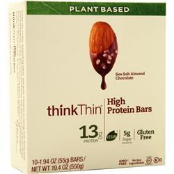 Think Thin Plant Based High Protein Bar Sea Salt Almond Chocolate 10 bars