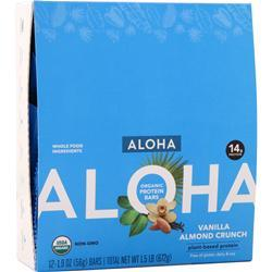 Aloha Organic Protein Bar - Plant Based Vanilla Almond Crunch 12 bars