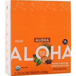 Aloha Organic Protein Bar - Plant Based Peanut Butter Choc. Chip 12 bars