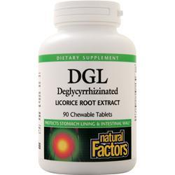 Natural Factors DGL - Deglycyrrhizinated Licorice Root Extract (400mg) 90 chews