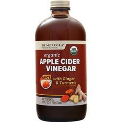 Dr. Mercola Organic Apple Cider Vinegar Spicy w/ Ginger & Turmeric 16 fl.oz