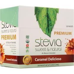 AnuMed Premium Stevia - Sweet & Natural Caramel Delicioso 100 pckts