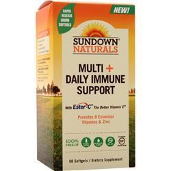 Sundown Naturals Multi + Daily Immune Support  EXPIRES 9/19 60 sgels
