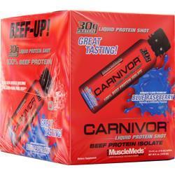 MuscleMeds Carnivor Liquid Protein Shots Blue Raspberry 12 bttls