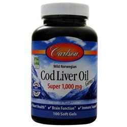 Carlson Wild Norwegian Cod Liver Oil Gems (Super 1000mg) 100 sgels