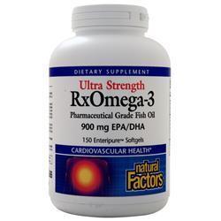 Natural Factors RxOmega-3 Factors Pharmaceutical Grade Fish Oil - Ultra Strength 150 sgels